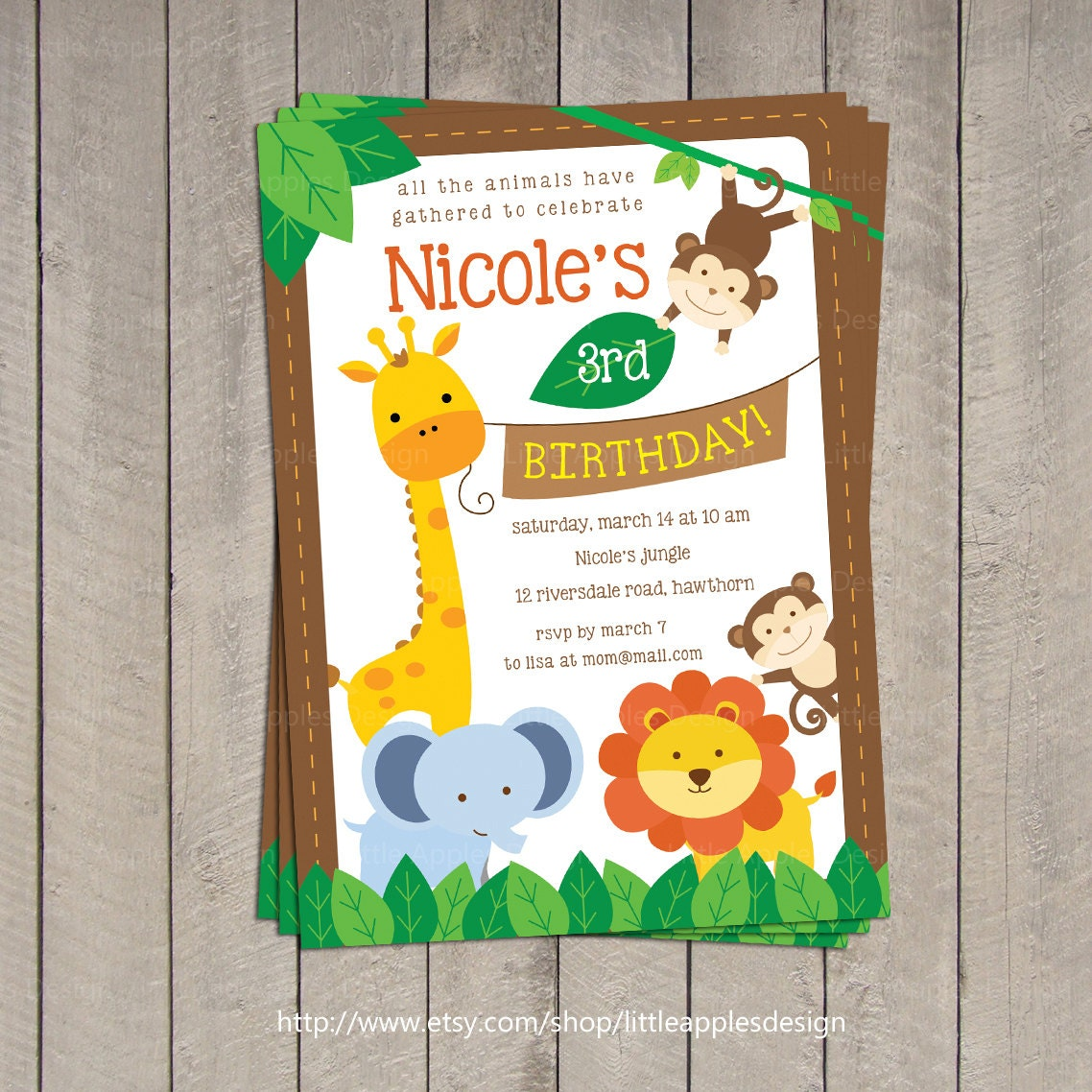 Safari Invitation / Safari Birthday Invitation / Jungle