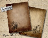 Alice Printable Journal Paper - Distressed Digital Paper - 8 Pages Letter Size 8.5 x 11 - Stationery, Art Journals, Digital Scrapbooking