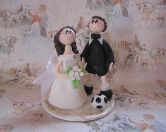Soccer cake topper, custom wedding cake topper,  soccer player groom, soccer wedding cake