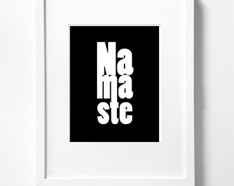 Namaste - Yoga Typography Art Print  - 11 x 14 in. or 12 x 18 in.