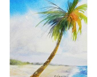 Tropical Watercolor Art, Beach Paradise, Looking Down The Beach, Original Beach Artwork