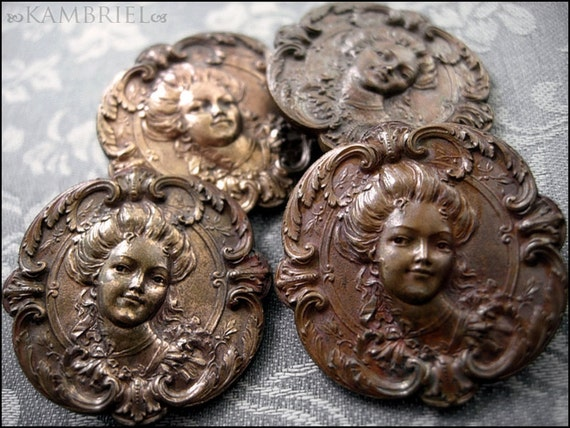 Antique French Art Nouveau Figural Button - Belle Epoque - price is for 1 button (others already sold)