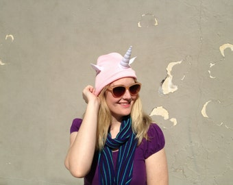 Ready to Ship  Pink Unicorn Horn Beanie - Sweet Halloween - All Ages Magical Hat