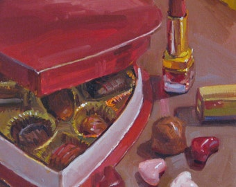 """Sale! Valentines day gift fine art oil painting """"Heart Shaped Box"""" by Sarah Sedwick 8x8in"""