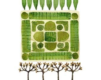 LARGE Parterre Garden No. 1 Print, watercolor reproduction, giclee print, garden plan, english garden illustration, botanicals