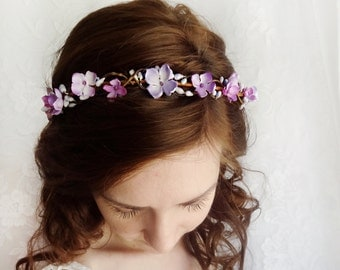 purple floral crown, bridal circlet, floral circlet, purple flower crown, flower girl hairpiece, purple wedding, bridal hairpiece, lilac