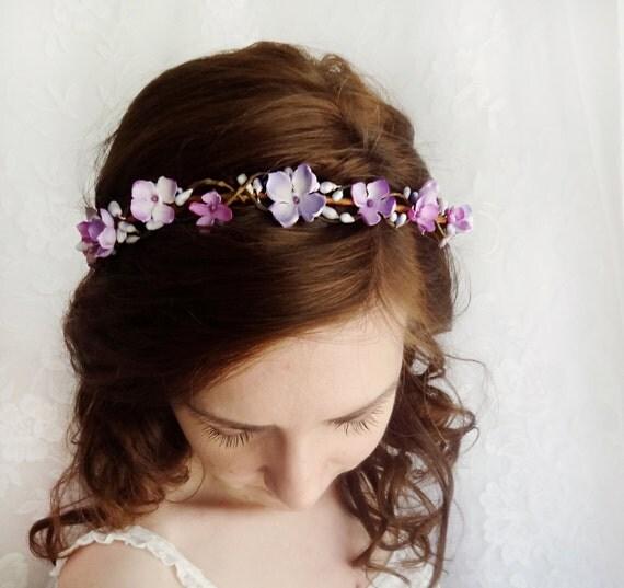 Lavender Flower Hair Wedding Style: Purple Floral Crown Bridal Circlet Floral Circlet Purple