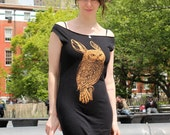 Rowl Rabbit Owl tshirt dress - eco-friendly copper ink screenprint on black cotton  - womens sizes S, M, L