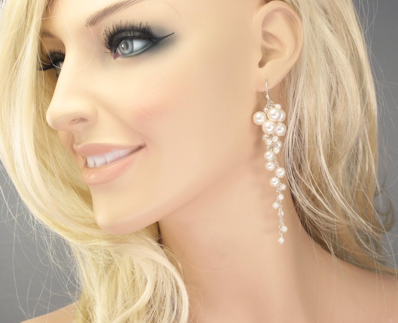 Long Pearl Cluster Earrings Statement Bridal Earrings