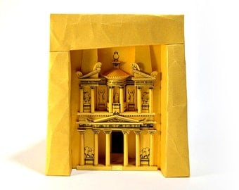 "Petra Treasury, paper model kit of ""Indiana Jones temple"" in Jordan, 26 cm / 10 inches high"