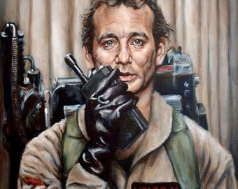 Bill Murray in Ghostbusters  - Portrait Painting - Peter Venkman - 5x7 8x10 11x14