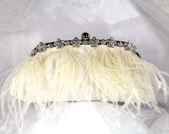 Ostrich Feather Bridal Clutch Purse,  Ivory Feather Clutch, Satin Wedding Clutch, Feather Wedding Purse with Rhinestone Trim
