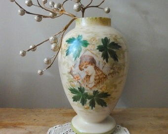 Vintage Victorian Mantel Vase Pretty Girl Bristol Glass