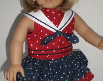 Red, White & Blue Ruffled Skirt - Sailor Suit 18 inch doll clothes