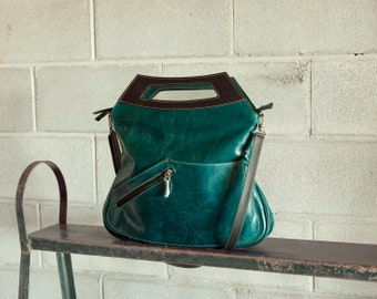 Leather purse, teal blue - convertible Melody