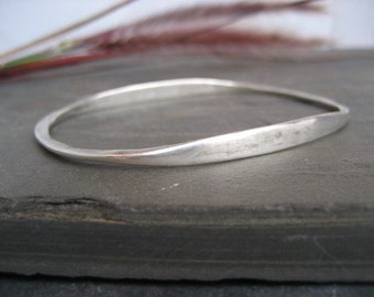 Sterling silver oval bangle - heavy sterling silver