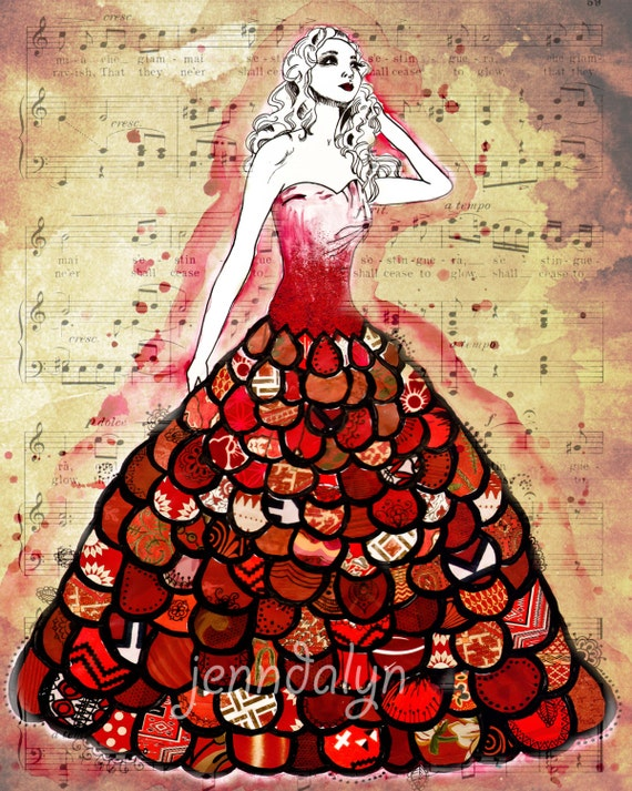 fashion illustration red dress music ball gown 8 x 10 PRINT fancy burgundy crimson scarlet mixed media art