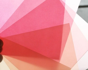 Translucent Origami Paper -12 Sheets Medium 5 Inch Squares - Handmade Origami Paper - Pink and Cream