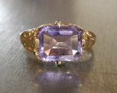 Antique Amethyst Ring-Vintage Amethyst Edwardian Ring-Unique Engagement Ring-Statement Ring-Purple Right Hand Ring-February Birthstone