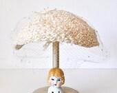 Vintage White Wedding Hat by Juanita