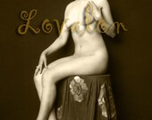 MATURE... Poppies & Sunflowers... Instant Digital Download... Vintage 1920's Nude Glamour Photo Image by Lovalon