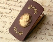 iPhone 5  Leather Flip Case Brown Romantic Cameo Vintage style Victorian iPhone Case - iPhone Accessories