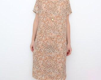 Vintage cheetah beige short sleeve 90s dress / animal print / mini dress