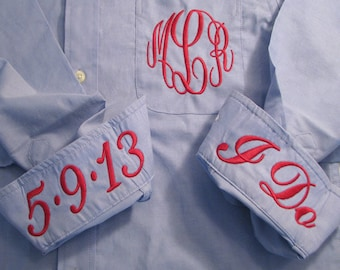 Bride Shirt, Bridal Party Shirt, Monogram Oxford, Wedding Day Shirt, Getting Ready Shirt, Bride Shirts, Bridal Party Shirts