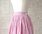 1950s pink cotton circle skirt / size small / size S / valentine / sweetheart