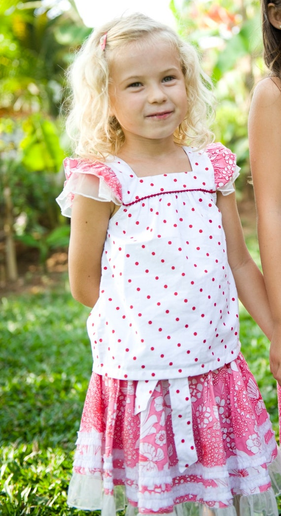Sale 20% off,Girls Ruffled Shirt,Girls Shirt,Toddler Tank Top,Birthday Shirt,Red-White Shirt,Ready to ship.