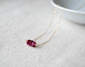trois... gold moonstone necklace / hot pink moonstone & 14k gold filled necklace