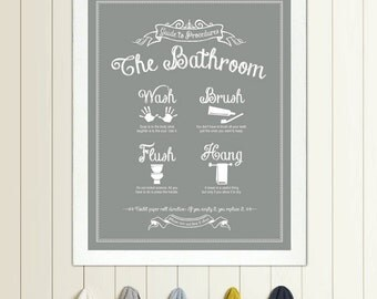 Guide to Procedures: The Bathroom - print - Bathroom, Rules, Sign, Vintage, Decor, Art, Wall, Wash, Brush, Flush, Hang