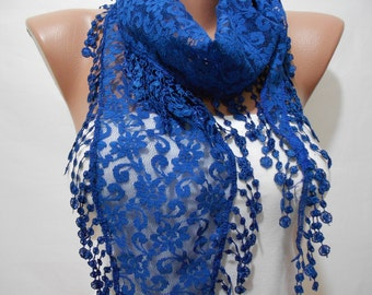 Valentines Gift Scarf Cobalt Lace Scarf Bridal Accessories Bridesmaids Gifts Blue Summer Scarf Shawl Women Fashion Accessories Royal Blue We