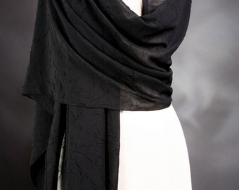 Black Scarf Long Scarf Chiffon Scarves Textured Scarves Neck Scarf Handmade Scarve Shoulder Wrap Evening Scarves Fashion Scarf  Neck Scarves