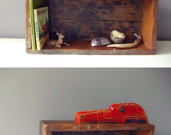 Cubby Shelf, Antique Wood Crate Shelf with Native Eagle Carving, Wooden Box, Book Shelf Display Case, One of a Kind Furniture, Small Storage