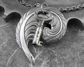 Skeleton Key Feather Quill Necklace - The Writer's Key by COGnitive Creations