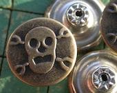 15 Skull & Crossbones Tack Buttons, Bronze Tone, no sew, metal, jean jacket type