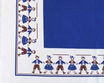 Vintage Tablecloth Folk Costumes Boys Girls Retro Blue Kitchen