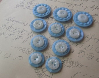 Button Magnet Set - 10 Blue and White Vintage Button Magnets