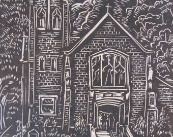 1967 Church Woodcut - Listed Artist Arvid D Jacobson Original Signed Dated Artwork - Picture Trinity Lutheran Congregation Lawrence Kansas