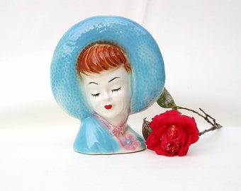 Vintage Lady Head Vase Wall Pocket Lady Planter 1940s Fashion Big Hat Glamour Girl Blue  Pink