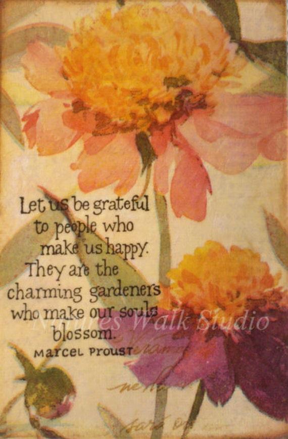 Encaustic Collage, Peony Garden Mixed Media Canvas Inspirational Art 4x6