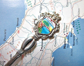 Silver Souvenir Spoon from Italy, Naples, Napoli.   ID 067