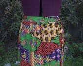 Maxi Skirt Maxi Wrap Skirt Beeline Wrap Skirt Boho Maxi Skirt Psychedelic Maxi Skirt 1960s Wrap Skirt 1970s Wrap Maxi Skirt Patchwork Size S