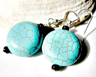 Turquoise Earrings, with Black Stone  ID 286