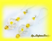 Lemon Yellow Daisies/Vintage White Milk glass Dangles -On Sale-(14.95)