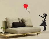 Banksy heart floating balloon girl. Wall Decal.