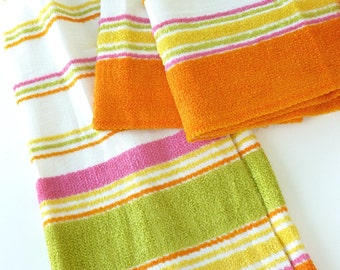 Striped Cafe Curtains Terry Cloth Panels Neon Hot Pink, Orange, Yellow, Lime Green on White Pinch Pleats and Rings and Rod Pocket Valances
