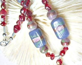 Lampwork Bead Necklace Glass Beads Lilac and Blue Lampwork Beads ID 160