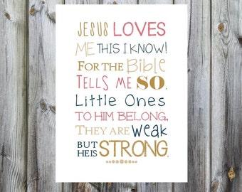 Jesus Loves Me Print. Nursery Art. Matthew 19:14. Print and Pop into any frame. DIY Instant Downloadable File. Jesus Bible verse for Nursery